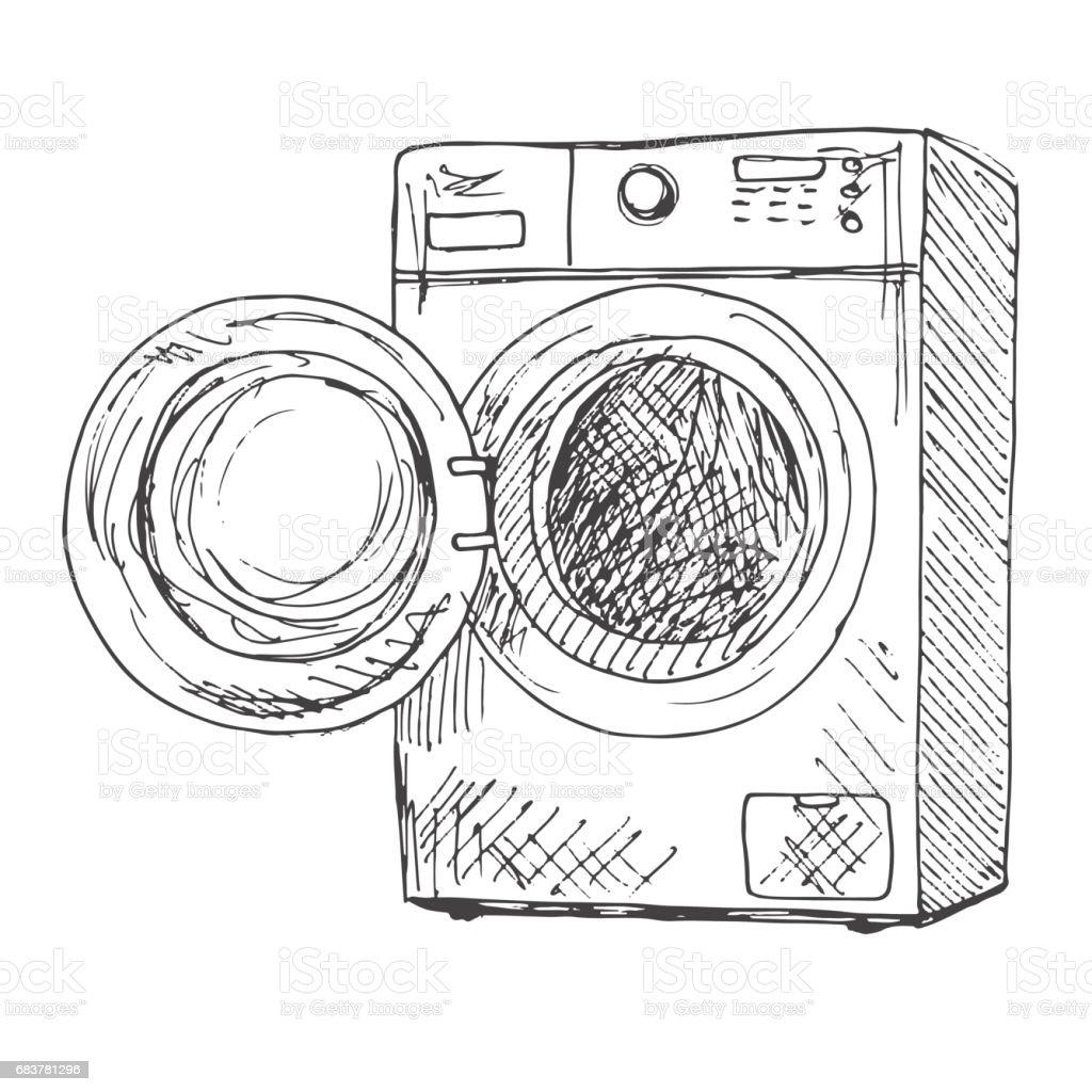 washing machine isolated on white background vector