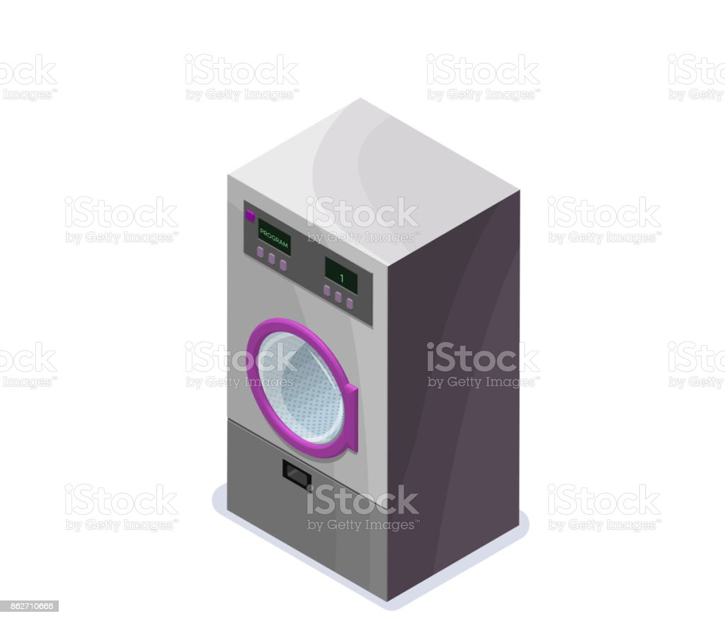 Washing machine isometric 3d vector illustration, laundry or dry cleaners appliance, isolated icon vector art illustration