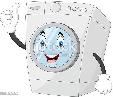 istock Washing machine mascot giving thumbs up 1199595609