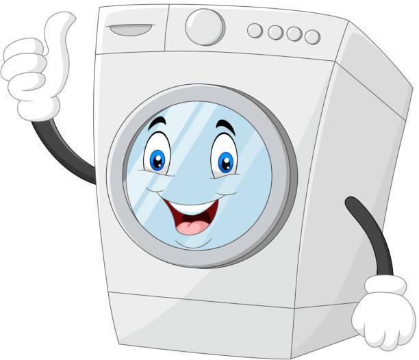 親指をあげる洗濯機のマスコット - 楽しい 洗濯点のイラスト素材/クリップアート素材/マンガ素材/アイコン素材