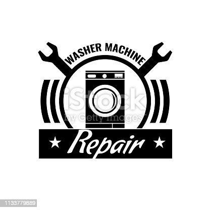 Washing machine repair icon or logo concept. Vector illustration.