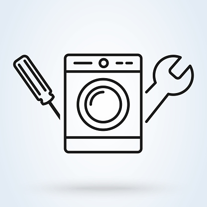 Washing machine repair service vector illustration in line style. Plumbing services, household appliances repair icon.