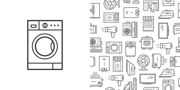 Washing machine sign and vector seamless pattern with household appliances line style icons Washing machine sign and vector seamless pattern with household appliances. Line style icons isolated on white background dishwashing machine stock illustrations