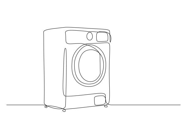Washing machine Washing machine in continuous line drawing style. Washer black line sketch on white background. Vector illustration contour drawing stock illustrations
