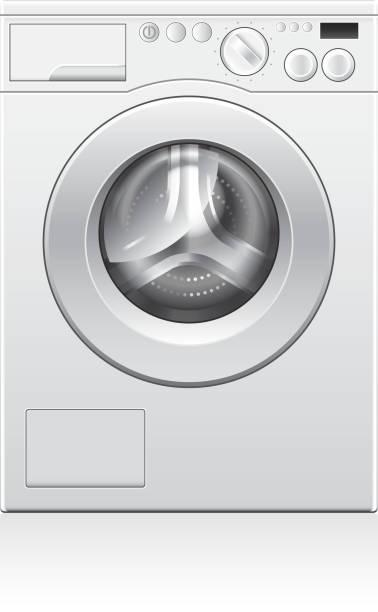 waschmaschine vektor-illustration - waschmaschine stock-grafiken, -clipart, -cartoons und -symbole