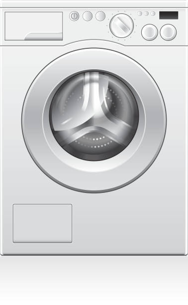 washing machine vector illustration - washing machine stock illustrations, clip art, cartoons, & icons