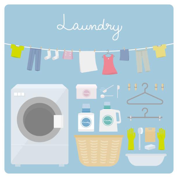 washing machine washing set washing machine washing set laundry basket stock illustrations