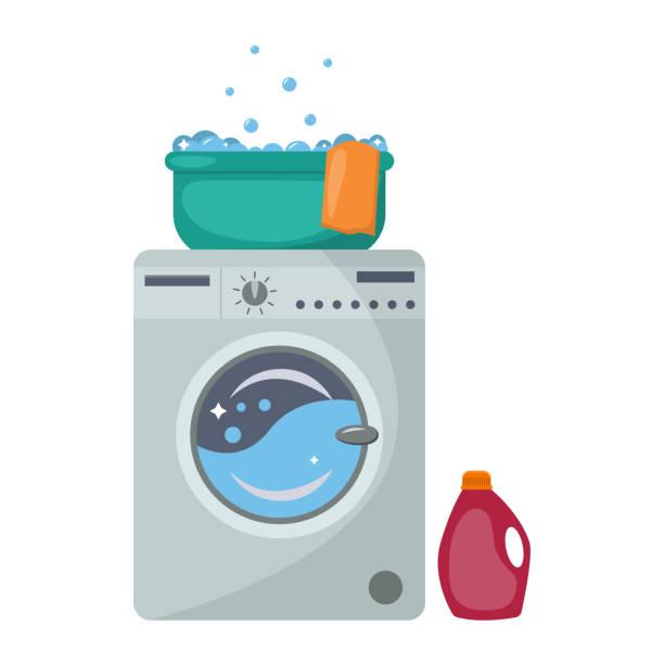 waschmaschine mit waschbecken und reinigungsmittel. - waschmaschine stock-grafiken, -clipart, -cartoons und -symbole