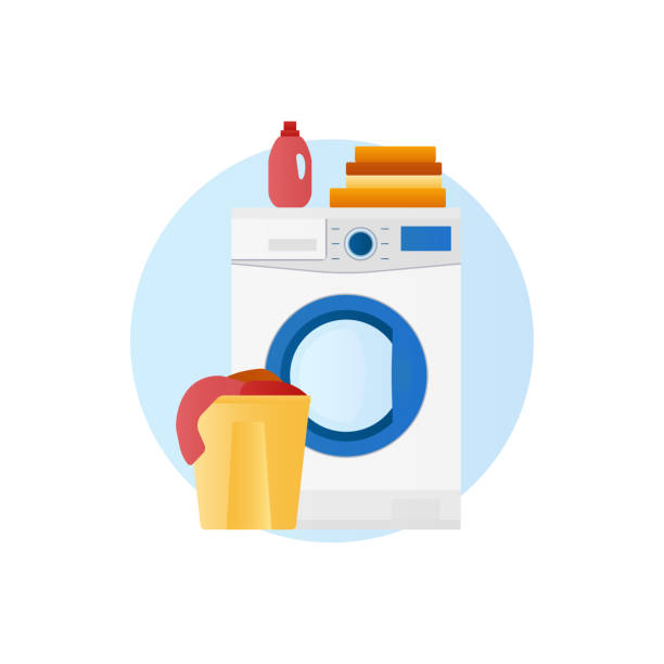 Washing machine with basket of linen and detergent icon Flat design vector icon of laundry, washing machine with washing clothing and linen, basket of linen and detergent. Concept of domestic housework clipart laundry basket stock illustrations