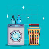 washing machine with detergent and clothes vector illustration