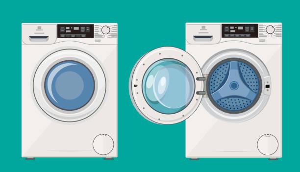 waschmaschine mit offener und geschlossener tür - waschmaschine stock-grafiken, -clipart, -cartoons und -symbole