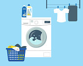 Washing machine with powder and cleanser, basket with dirty clothes to wash and clean clothes. Flat vector illustration.