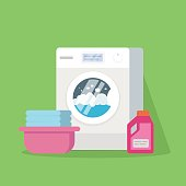 Washing machine with water and foam, a basin with clean linen, powder or conditioner for linen. Vector illustration of a high quality isolated on a green background.