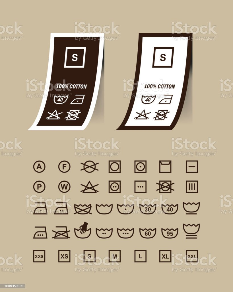 Washing Symbols Set On Clothing Labelsvector Stock Vector Art More