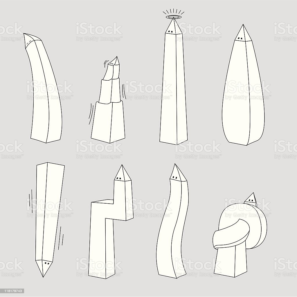 Washington attitudes / Obelisk mood swings royalty-free stock vector art