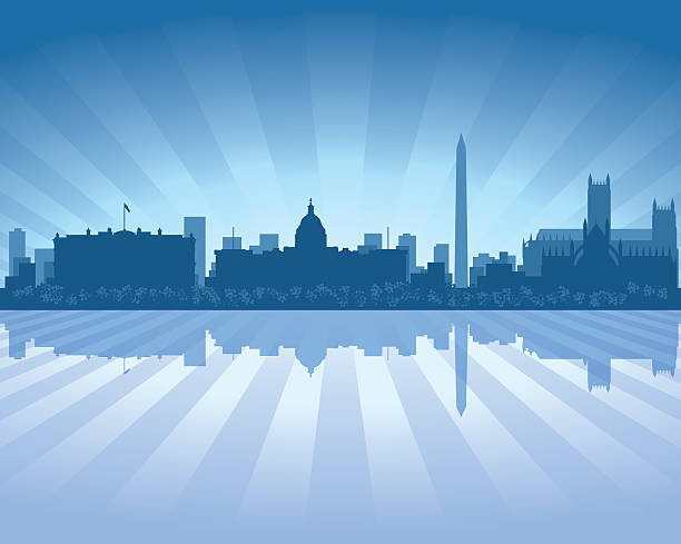 Washington Blue City skyline silhouette Washington District of Columbia Blue City skyline silhouette vector background waterfront stock illustrations