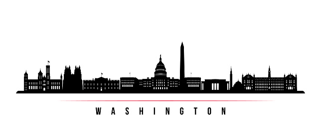 Washington city skyline horizontal banner. Black and white silhouette of Washington. Vector template for your design.