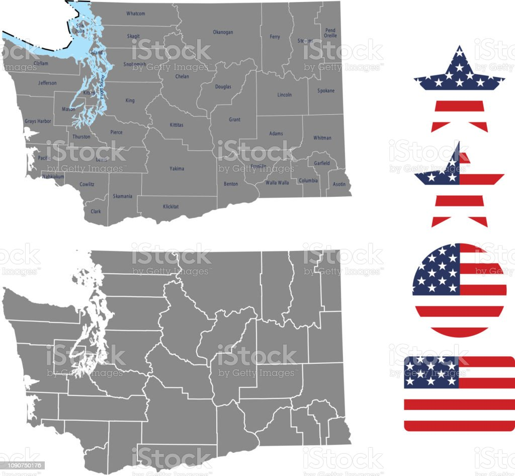 Washington County Map Vector Outline In Gray Background Washington ...