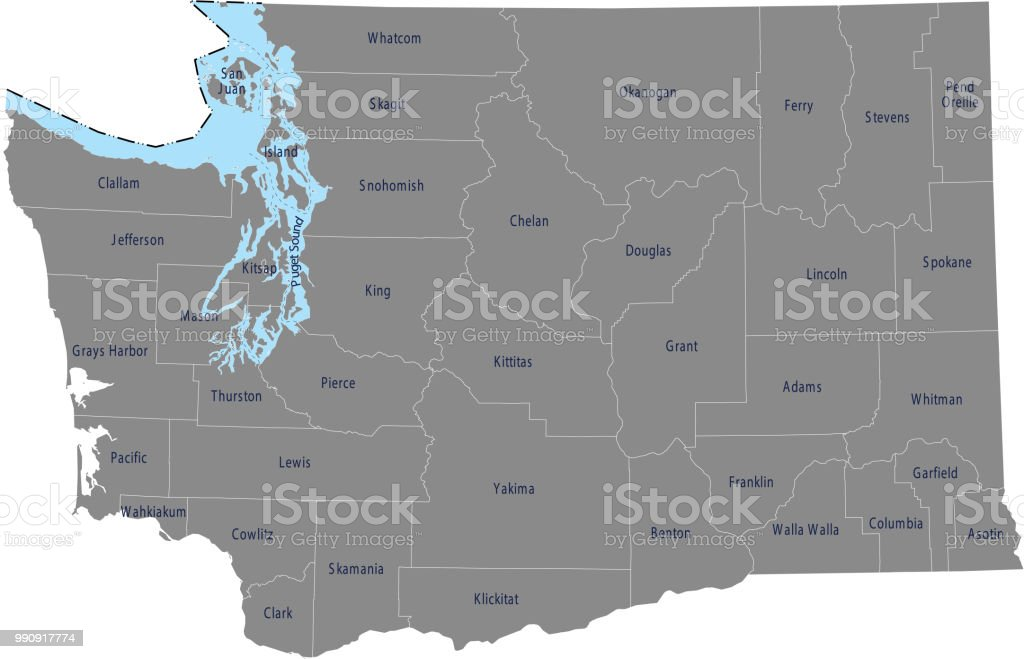 Washington County Map Vector Outline With Counties Names Labeled In