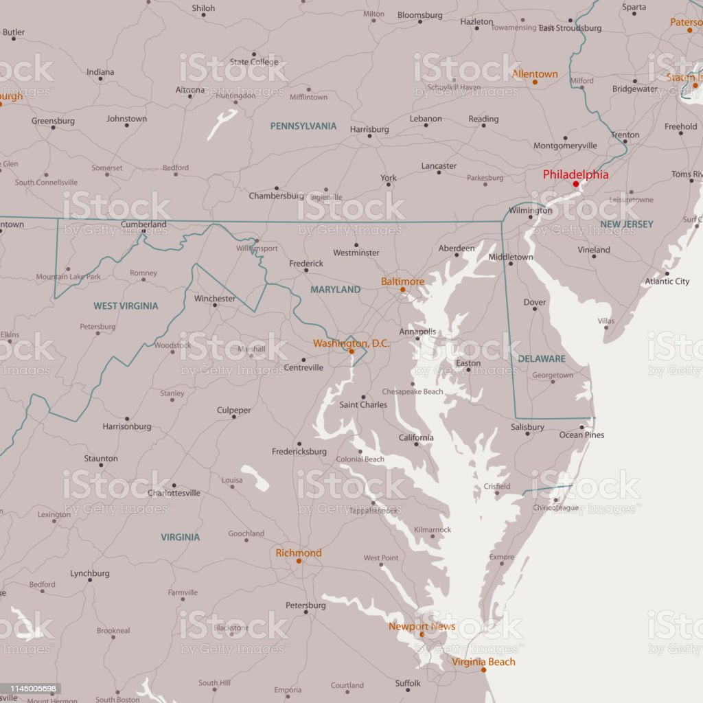Washington Dc Area Vector Map Stock Vr Art und mehr Bilder von ... on