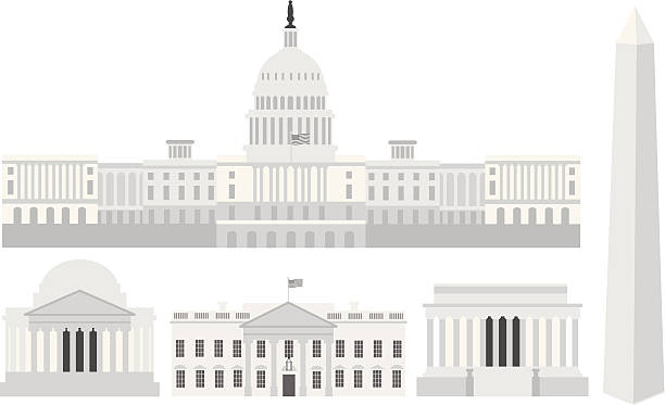 Washington DC Capitol Buildings and Memorials Vector Illustration Washington DC US Capitol Building Monument Jefferson and Lincoln Memorial Vector Illustration white house stock illustrations