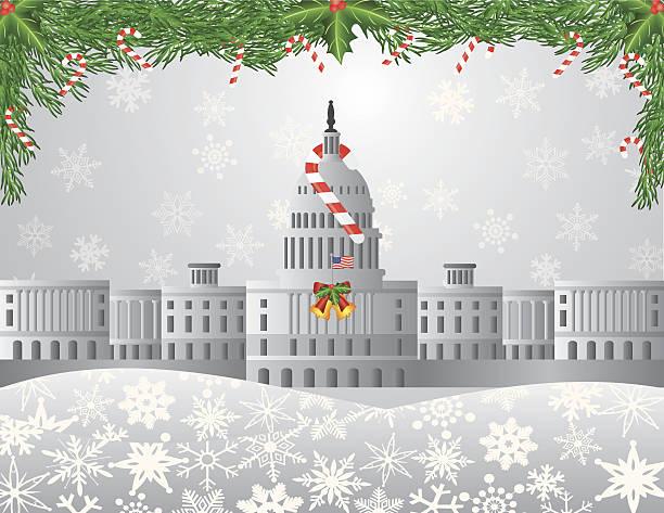 washington dc capitol weihnachten szene vektor-illustration - abgeordnetenhaus stock-grafiken, -clipart, -cartoons und -symbole