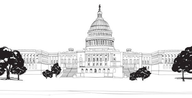 Washington DC Capitol with garden landscape, USA. vector art illustration