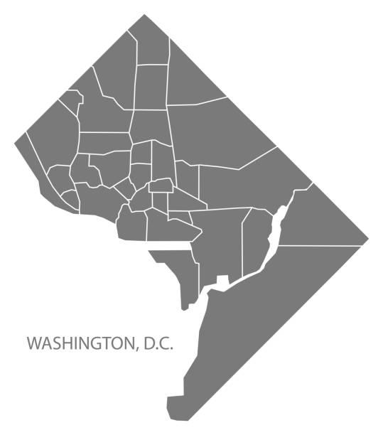 Washington DC city map with neighborhoods grey illustration silhouette shape Washington DC city map with neighborhoods grey illustration silhouette shape washington dc stock illustrations