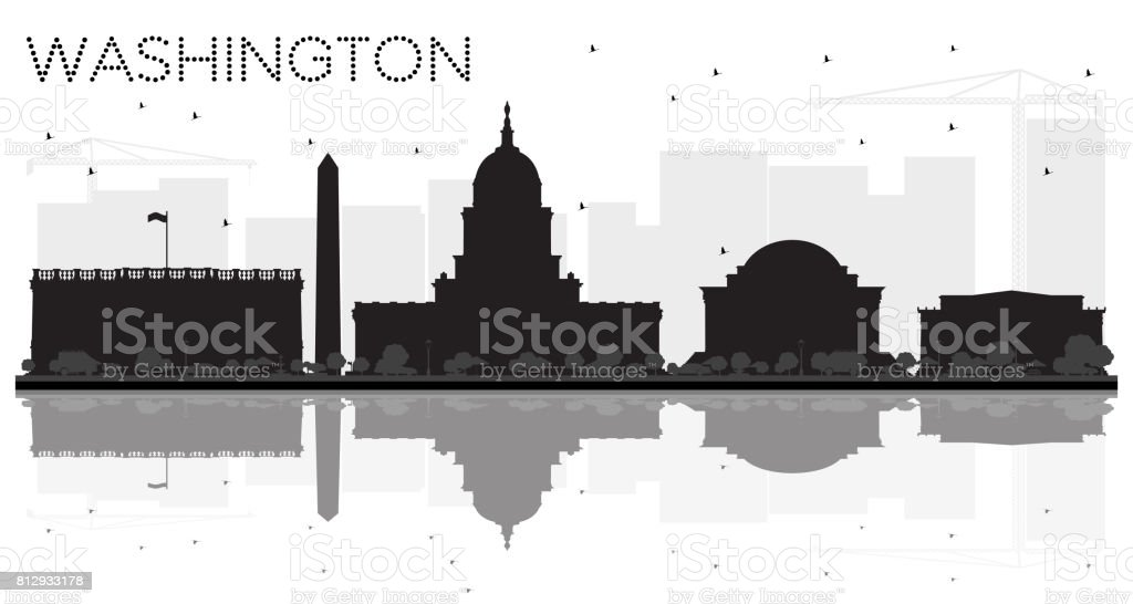 Washington DC City skyline black and white silhouette with reflections. vector art illustration