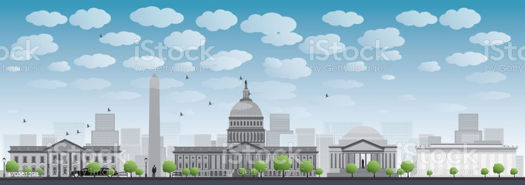 Washington DC city skyline silhouette vector art illustration