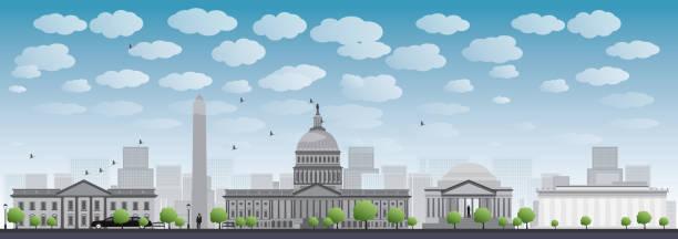 stockillustraties, clipart, cartoons en iconen met washington dc city skyline silhouette - mist donker auto