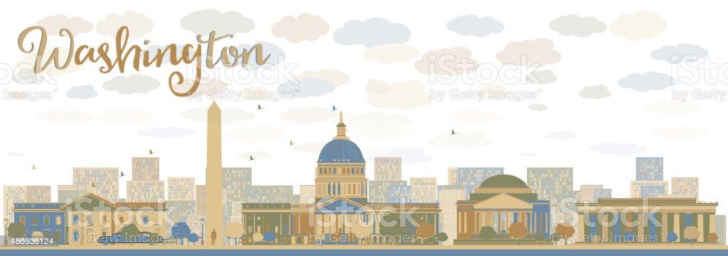 Washington DC city skyline vector art illustration