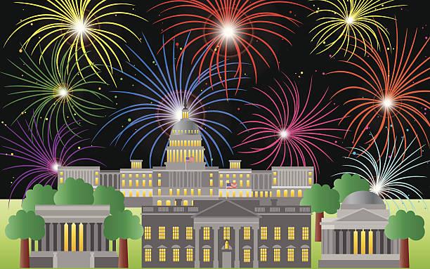 illustrazioni stock, clip art, cartoni animati e icone di tendenza di washington dc quarto di luglio i fuochi d'artificio vettoriale illustrazione - ivº secolo d.c