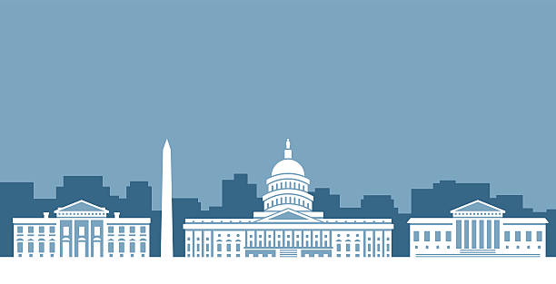 Washington D.C. Government Skyline Washington DC United States government skyline silhouettes of the White House, the United States Capitol Building and the Supreme Court. white house stock illustrations