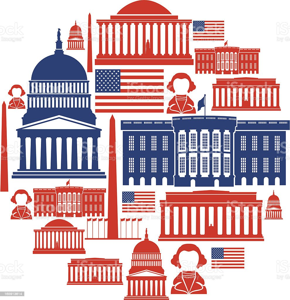 Washington DC Icon Montage royalty-free stock vector art
