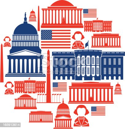 A set of washington themed icons. Click below for more travel images.