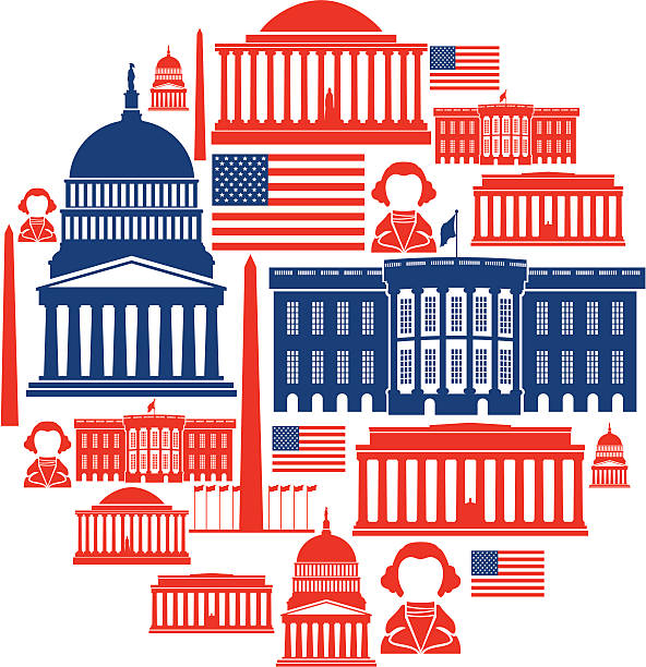 Washington DC Icon Montage A set of washington themed icons. Click below for more travel images. white house stock illustrations