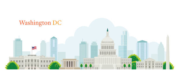 Washington DC, Landmarks, Skyline and Skyscraper Capitol Dome, White House, Travel and Tourist Attraction supreme court stock illustrations