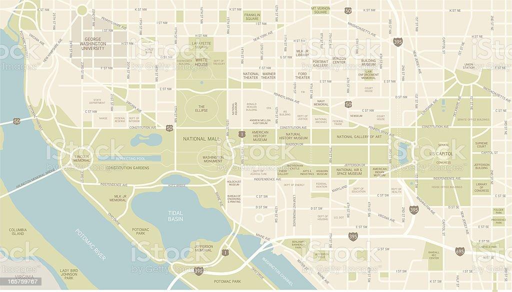 Washington D.C. Map vector art illustration
