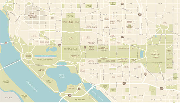 Washington D.C. Map A map of downtown Washington, D.C., including streets, water and points of interest – from museums and memorials to federal buildings. All elements are on separate layers. Includes a CS5 file and an extra-large JPG. washington dc stock illustrations