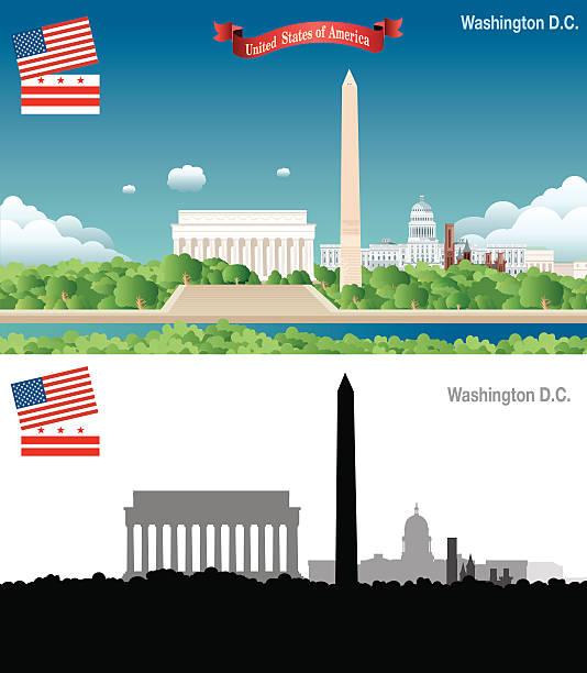 washington d.c.  skyline - 2 - abgeordnetenhaus stock-grafiken, -clipart, -cartoons und -symbole