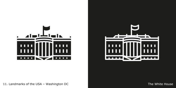 Washington DC - The White House Famous American landmark icon in line and glyph style. white house stock illustrations