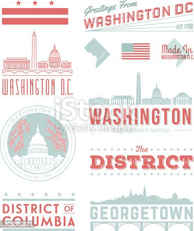 A set of vintage-style icons and typography representing Washington D.C., including landmark buildings and Georgetown. Each items is on a separate layer. Includes a layered Photoshop document. Ideal for both print and web elements.