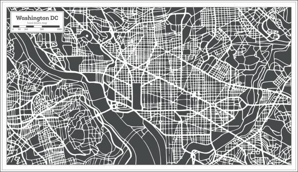 Washington DC USA Map in Retro Style. Outline Map. Washington DC USA Map in Retro Style. Vector Illustration. Outline Map. washington dc stock illustrations