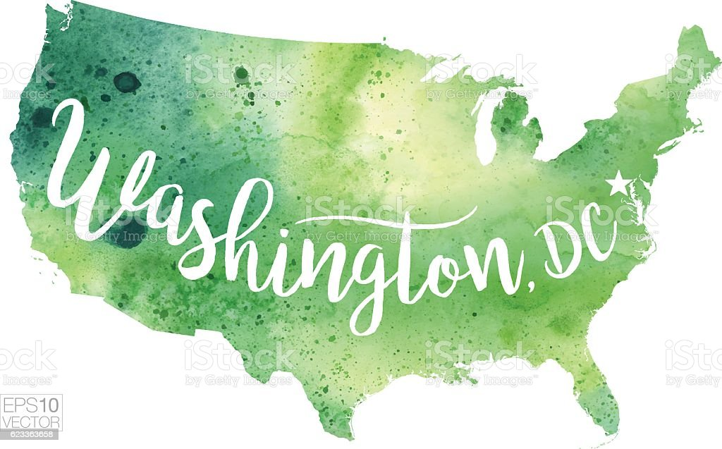 Washington Dc Usa Vector Watercolor Map Stock Vector Art - Washington dc usa map
