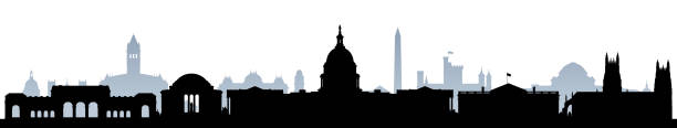 Washington DC (All Buildings are Moveable and Complete) Washington DC skyline. All buildings are moveable and complete. washington dc stock illustrations