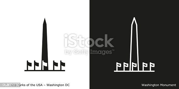 Famous American landmark icon in line and glyph style