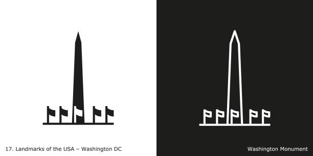 Washington DC - Washington Monument Famous American landmark icon in line and glyph style washington dc stock illustrations