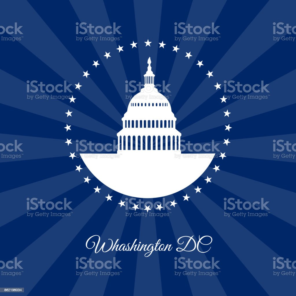 Washington DC White house and Capitol building arounded stars on dark rays background vector art illustration