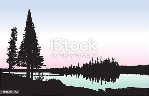A vector silhouette illustration of a tranquil lake surrounded by pine trees and forest.  The lake is coloured in a light green gradient with a pink and blue sky.